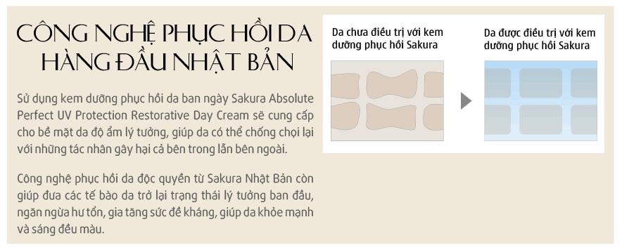 Kem dưỡng trắng chống lão hoá ban ngày Sakura phục hồi nhanh chóng làn da bị tổn thương