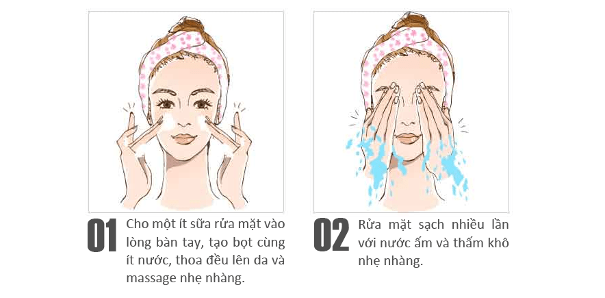 Sử dụng sữa rửa mặt cho da nhạy cảm Sakura rất đơn giản