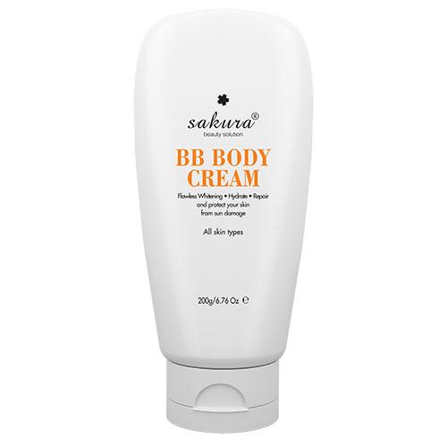 Kem dưỡng trắng da và trang điểm nhẹ toàn thân Sakura Skin Whitening BB Body Cream chính hãng tại Nhật
