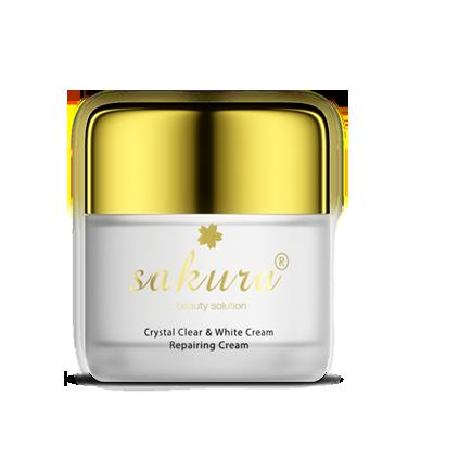 Kem dưỡng trắng, phục hồi da ban đêm Sakura Crystal Clear White & Repairing Cream chính hãng của Nhật